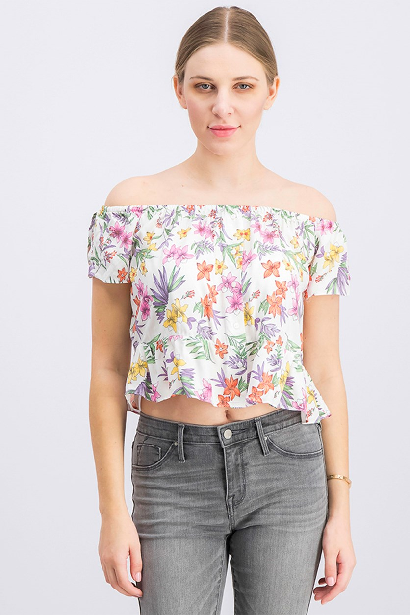 Women's Floral Print Off-The-Shoulder Top, White Combo