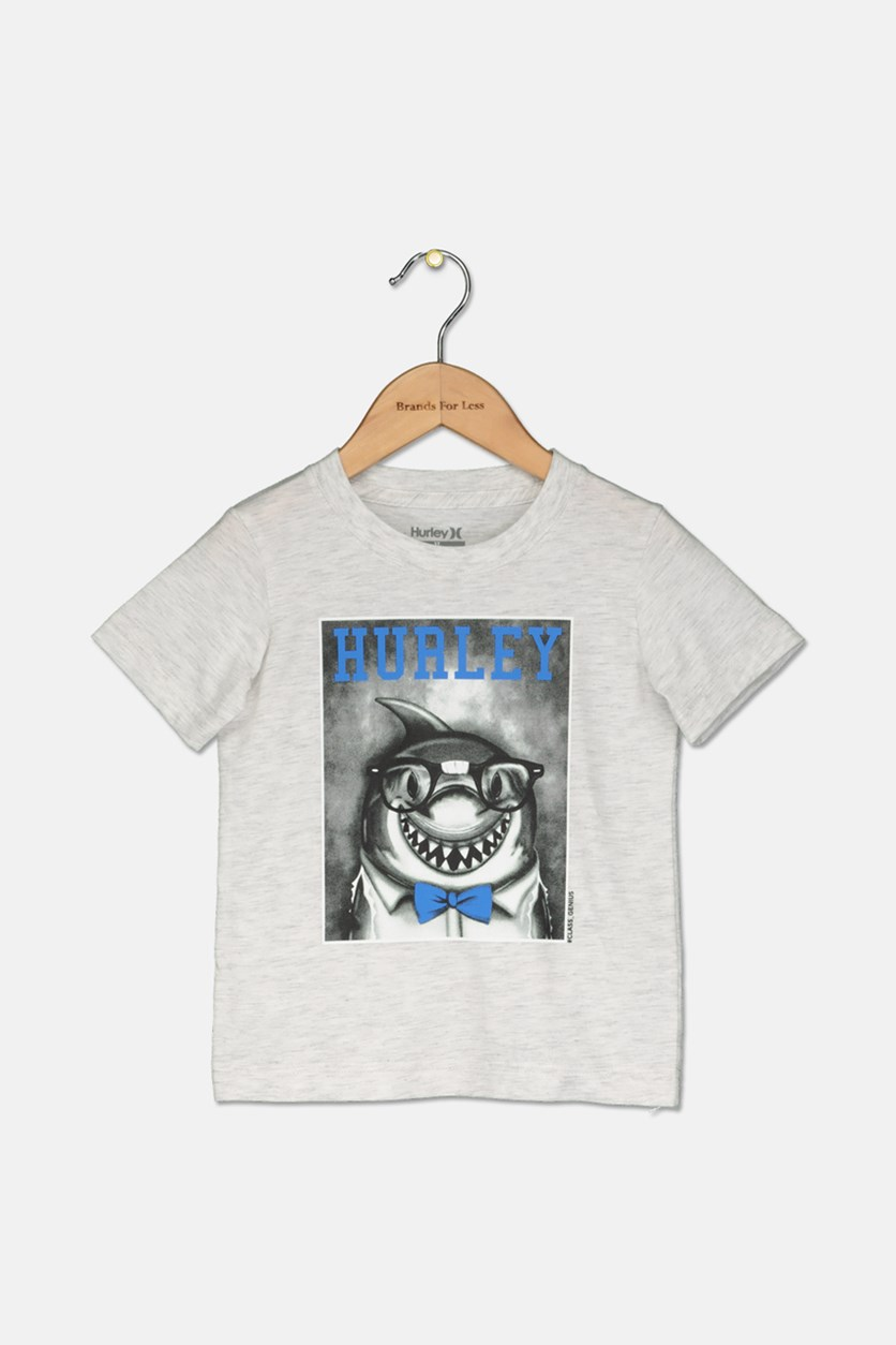 Toddler Boy's Graphic Print Tee, Light Grey Heather