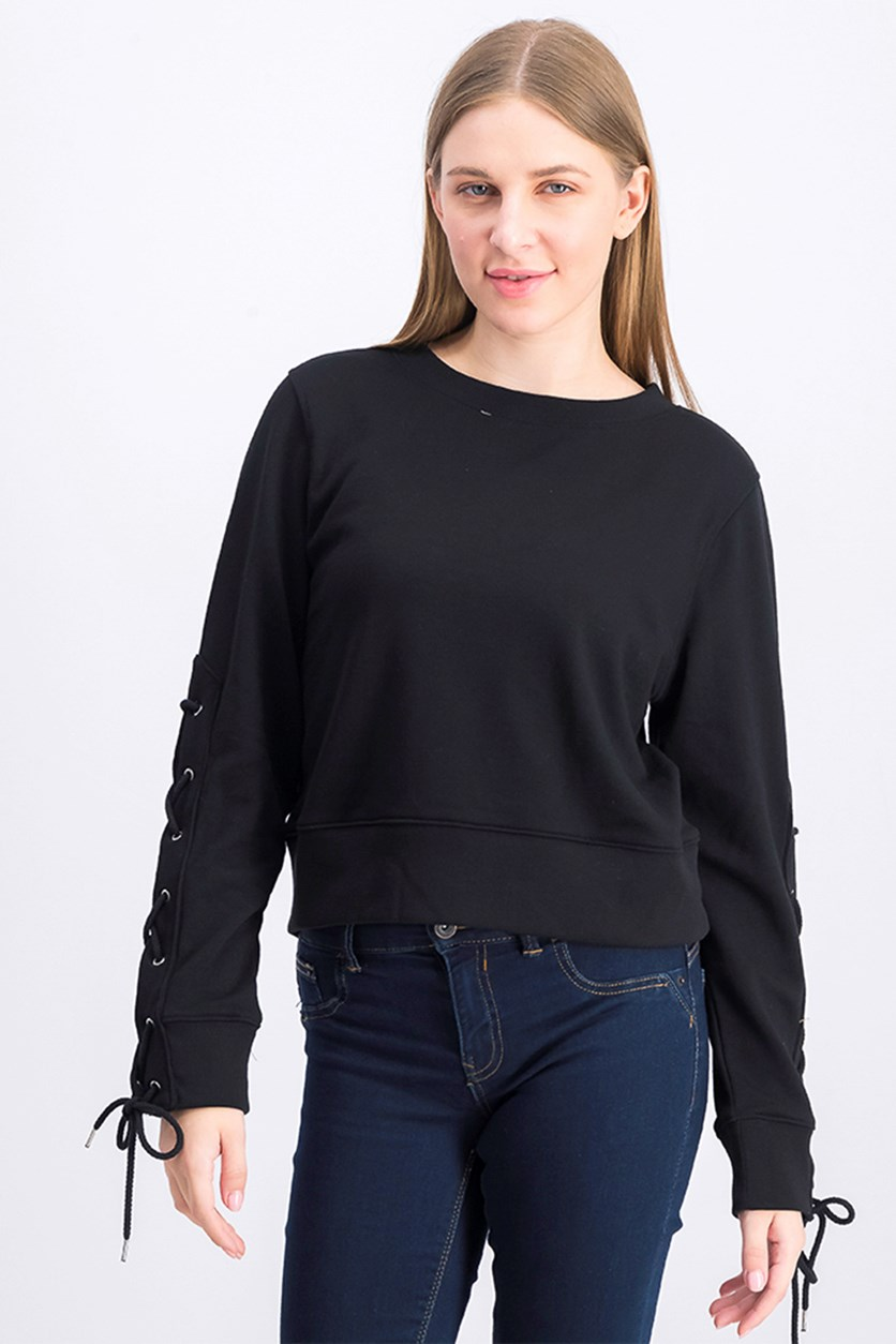 Women's Lace Up Sleeves Sweater, Black