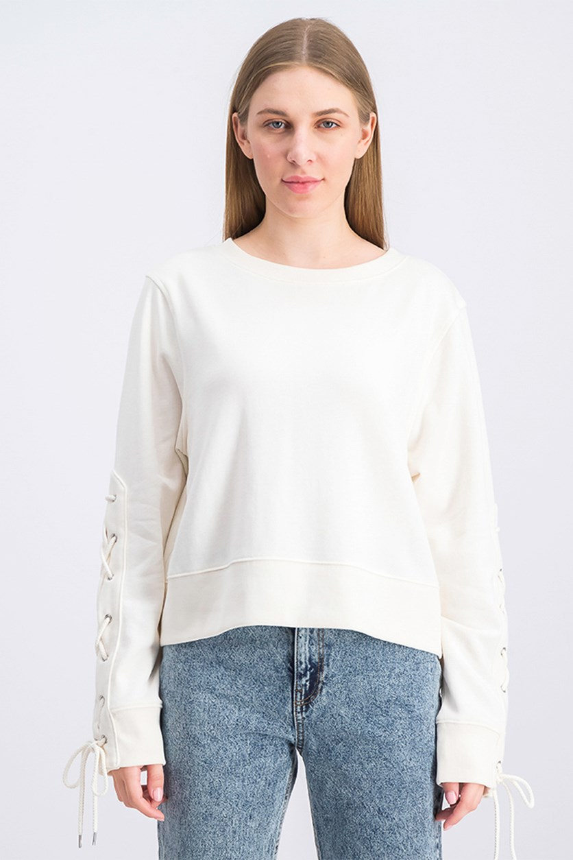 Women's Lace Up Sleeves Sweater, Ivory