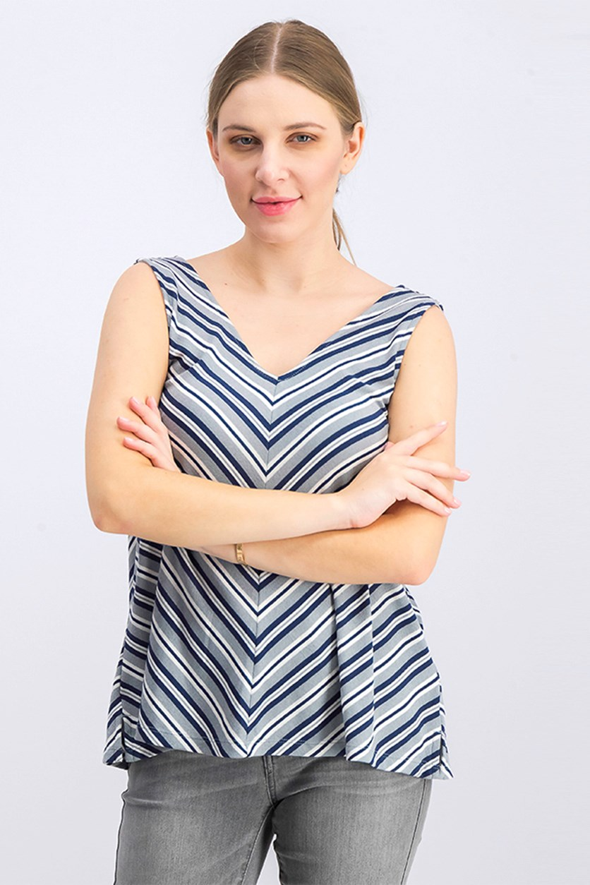 Women's Stripe Sleeveless Top, Grey/Navy