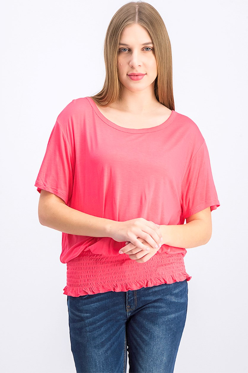 Women's Ruffle Pullover Top, Dark Pink