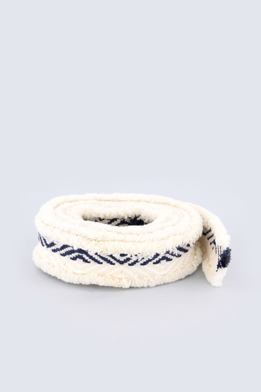 Women's  Fringe Tie Belt, Off White/Navy