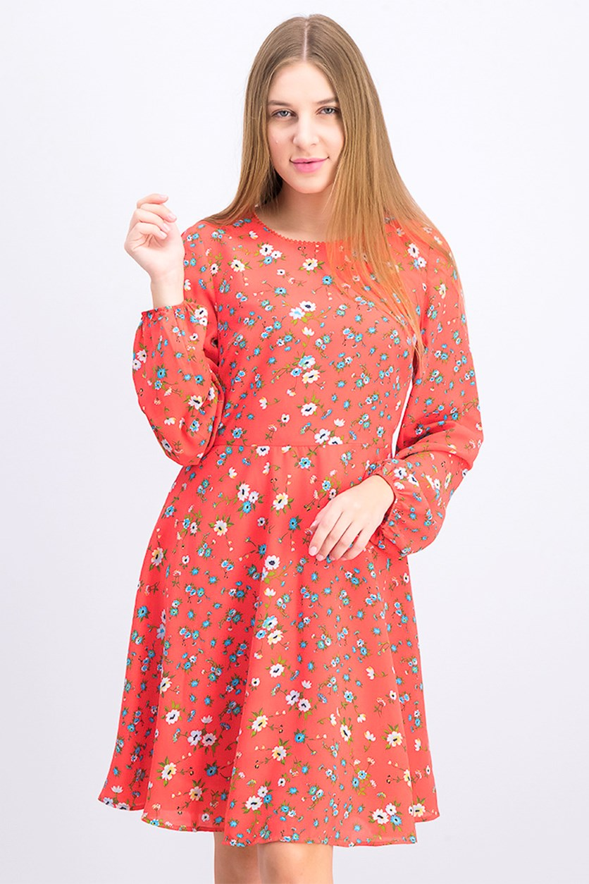 Women's Floral Dress, Orange