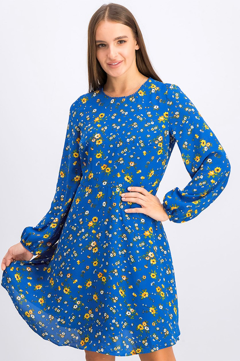 Women's Floral Print Bishop Sleeve Dress, Blue
