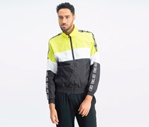 Men's Windbreaker Jacket, Black/Lime/White