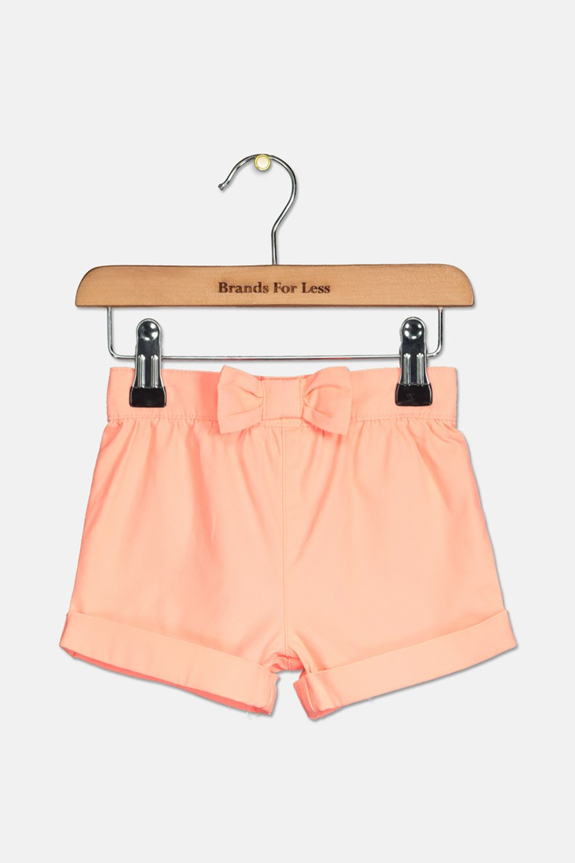 Baby Girls Solid Woven Shorts, Coral