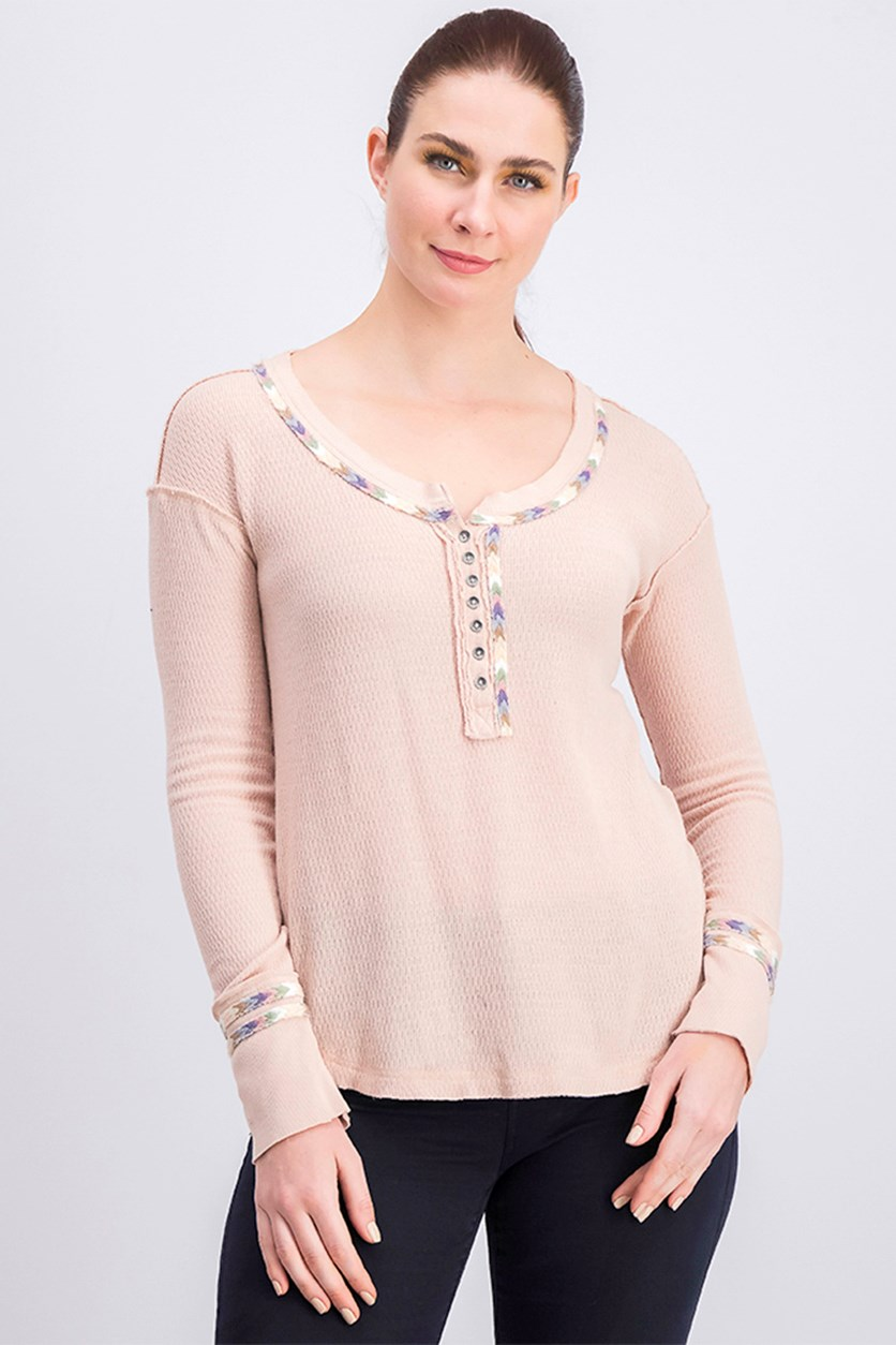 Embroidered Thermal Long Sleeve Scoop Neck Top, Rose