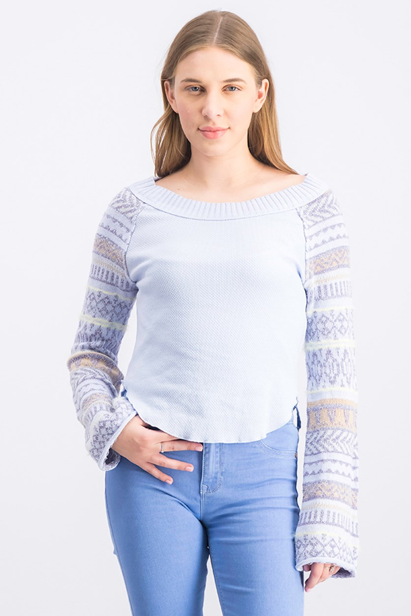 Women's Long Sleeve Jewel Neck Top, Pastel Blue