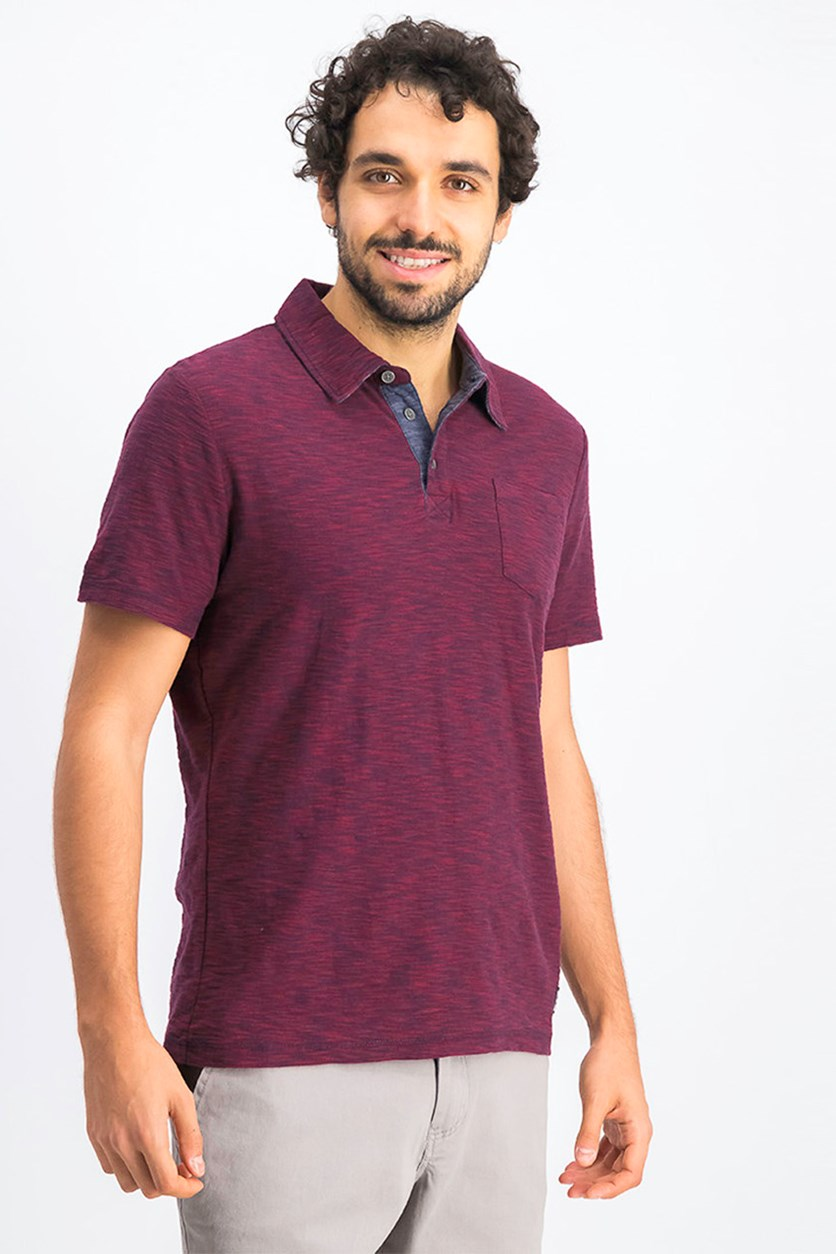 Men's Greensburg Slub Polo Shirt, Maroon/Navy