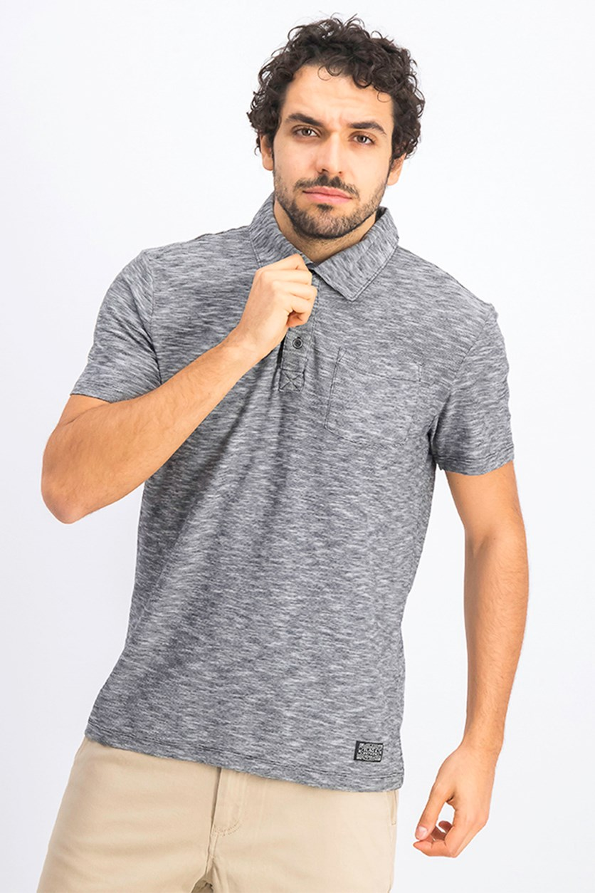 Greensburg Three Button Polo Shirt, Dark Grey/Medium Grey