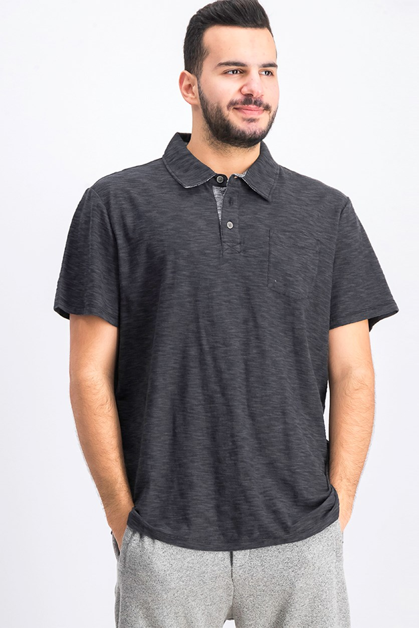 Men's Greensburg Slub Polo Shirt, Black/ Dark Grey