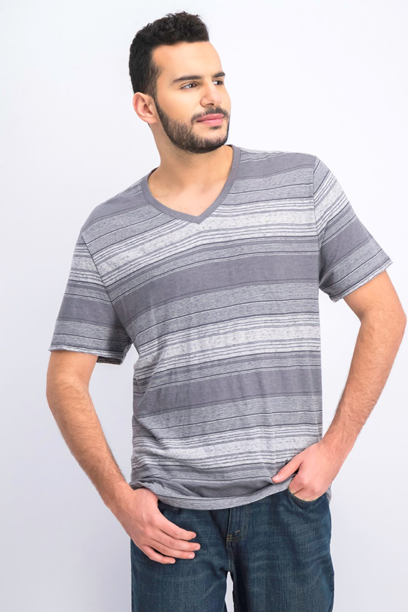 Men Short Sleeve V-neck Tee, Charcoal Grey