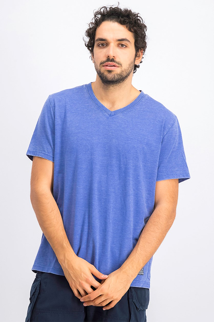 Men's Kinston Burnt Out V-Neck Tee, Med Blue