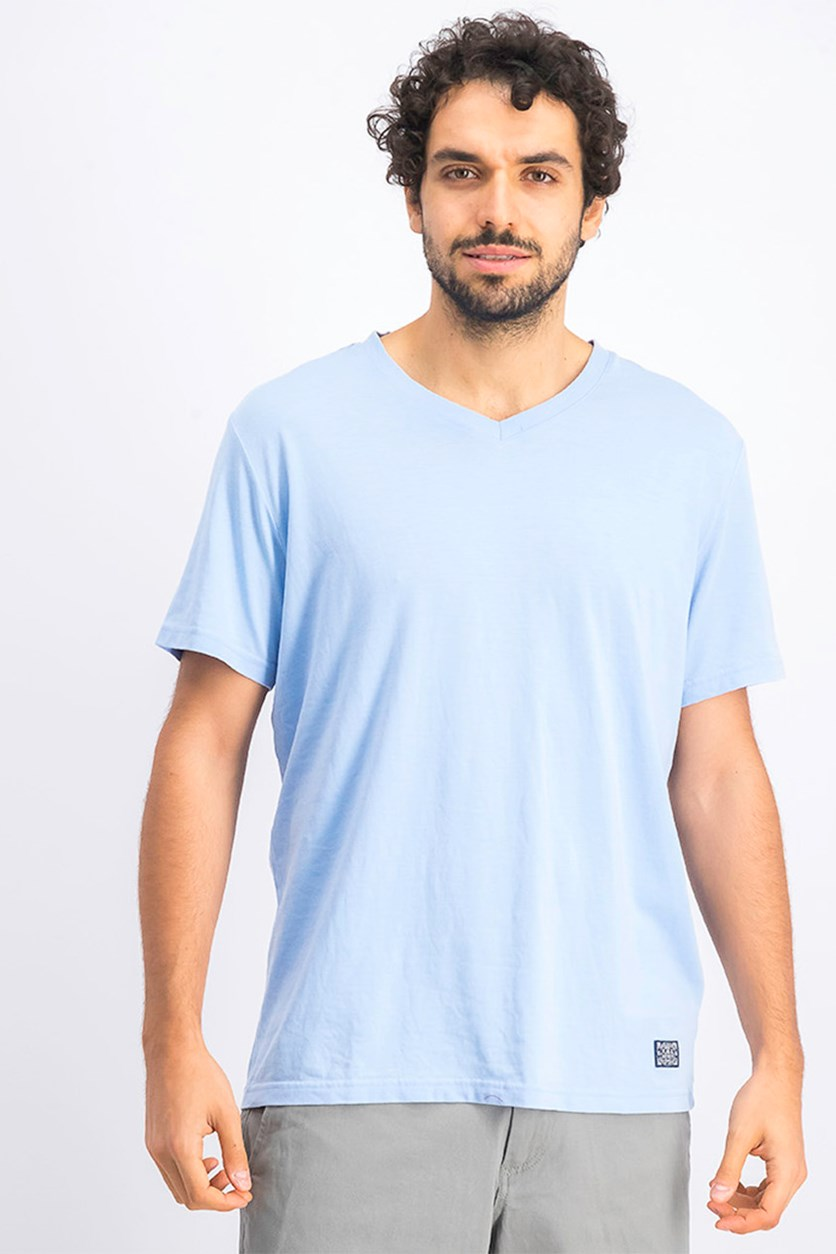 Men's Kinston Burnout V-Neck Shirt, Light Blue
