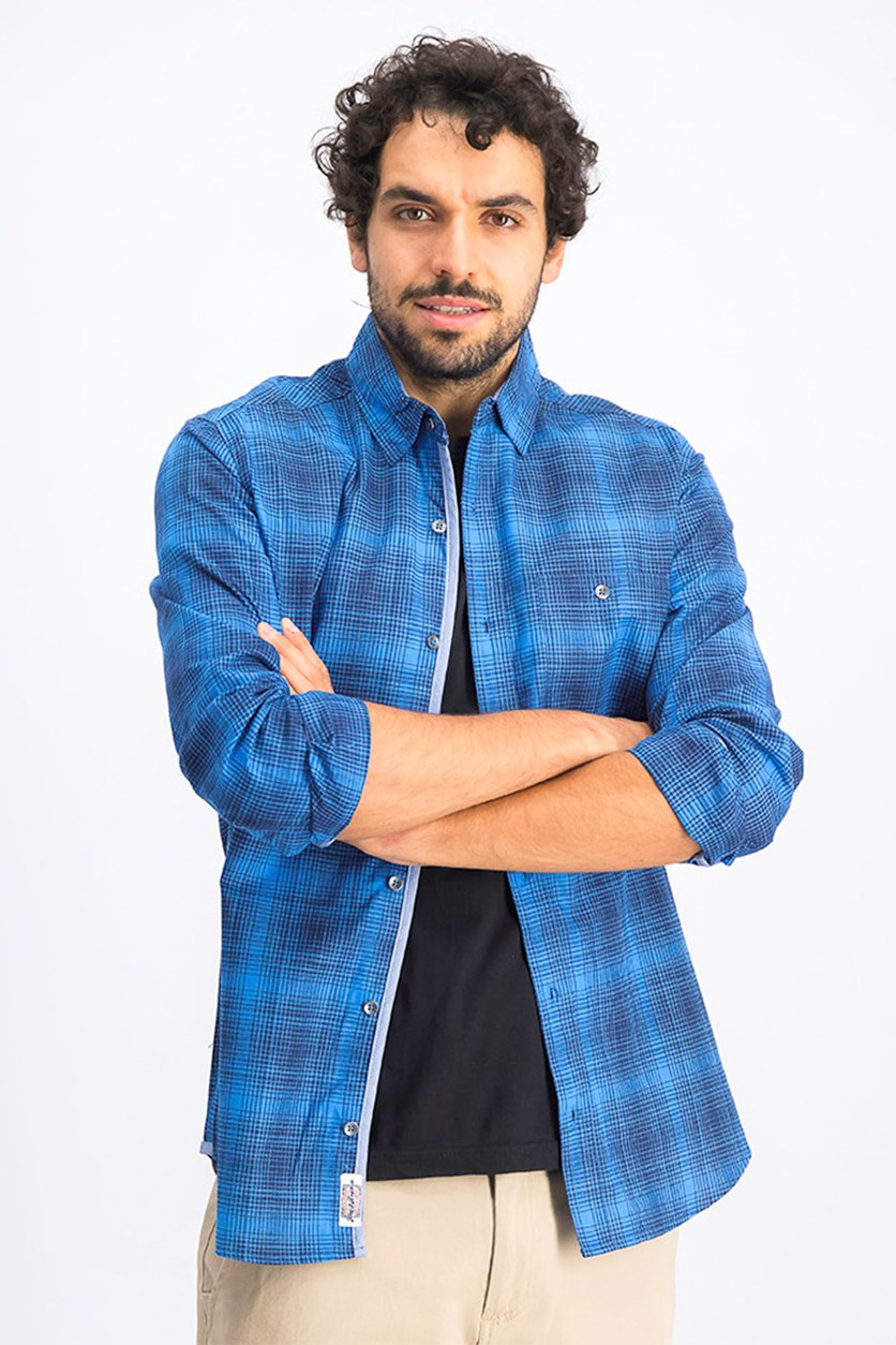 Men's Griffith Plaid Shirt, Navy Blue