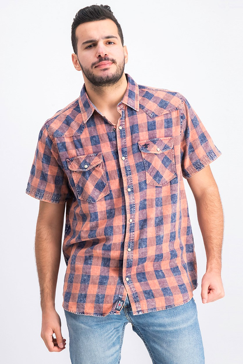 Men's Plaid Casual Shirt, Brown/Navy