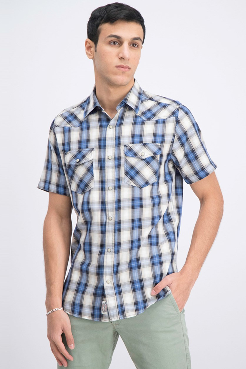 Men's Ortonville Western Plaid Shirt, Black/Blue Combo