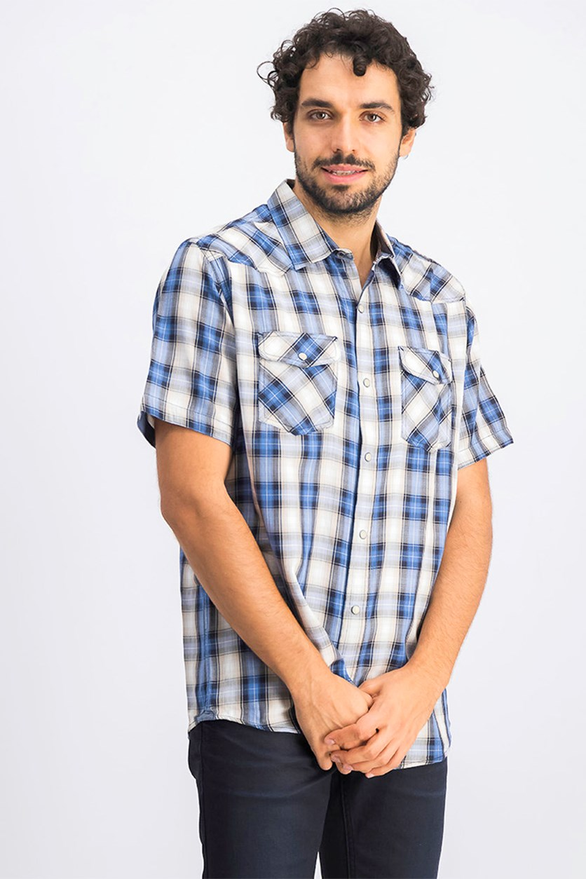 Men's Ortonville Western Plaid Shirt, Blue/White