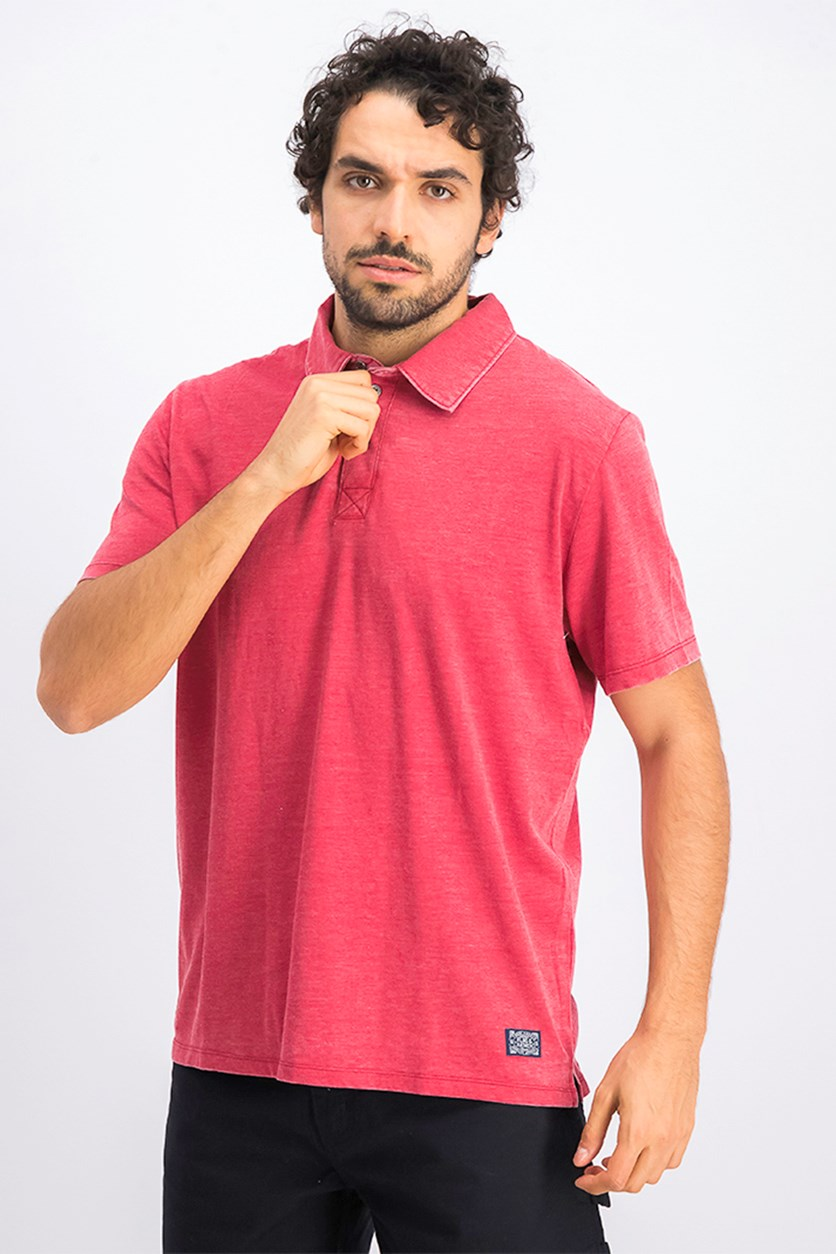 Men's Coupeville Burnout Polo, Red Wash
