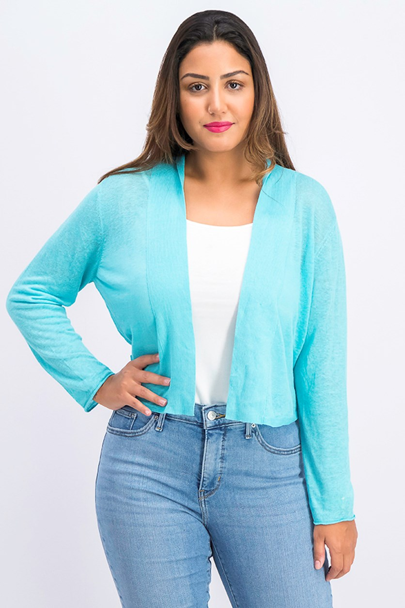 Women's Open Front Cardigan, Aqua