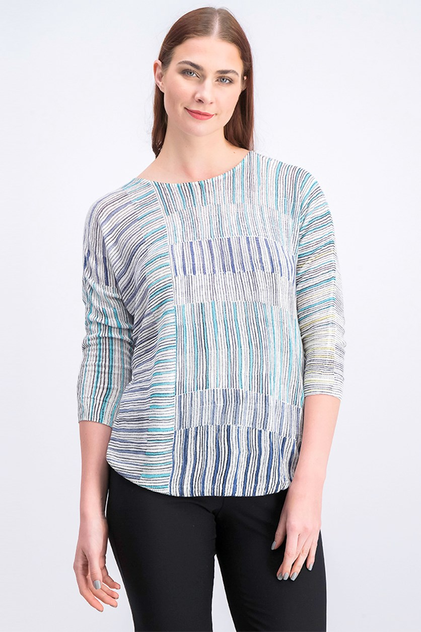 Women's Textured Stripe Top, White Combo