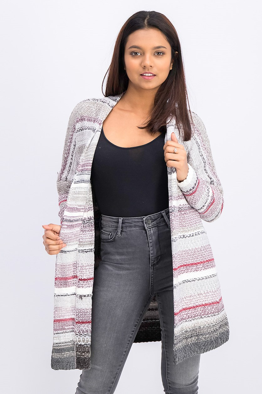 Women's Sunset Stripe Cardigan, Gray Combo