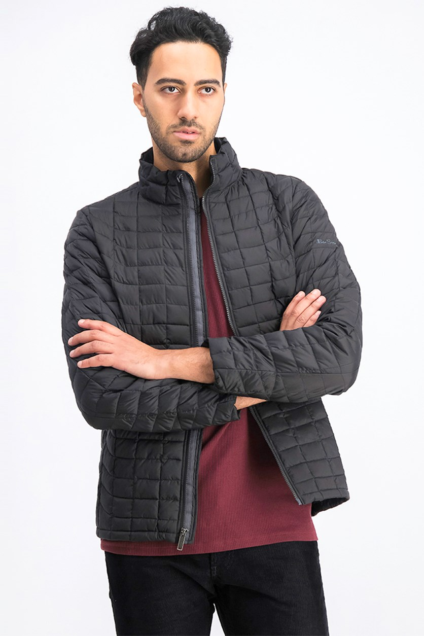 Men's Quilted Lightweight Puffer Jacket, Black