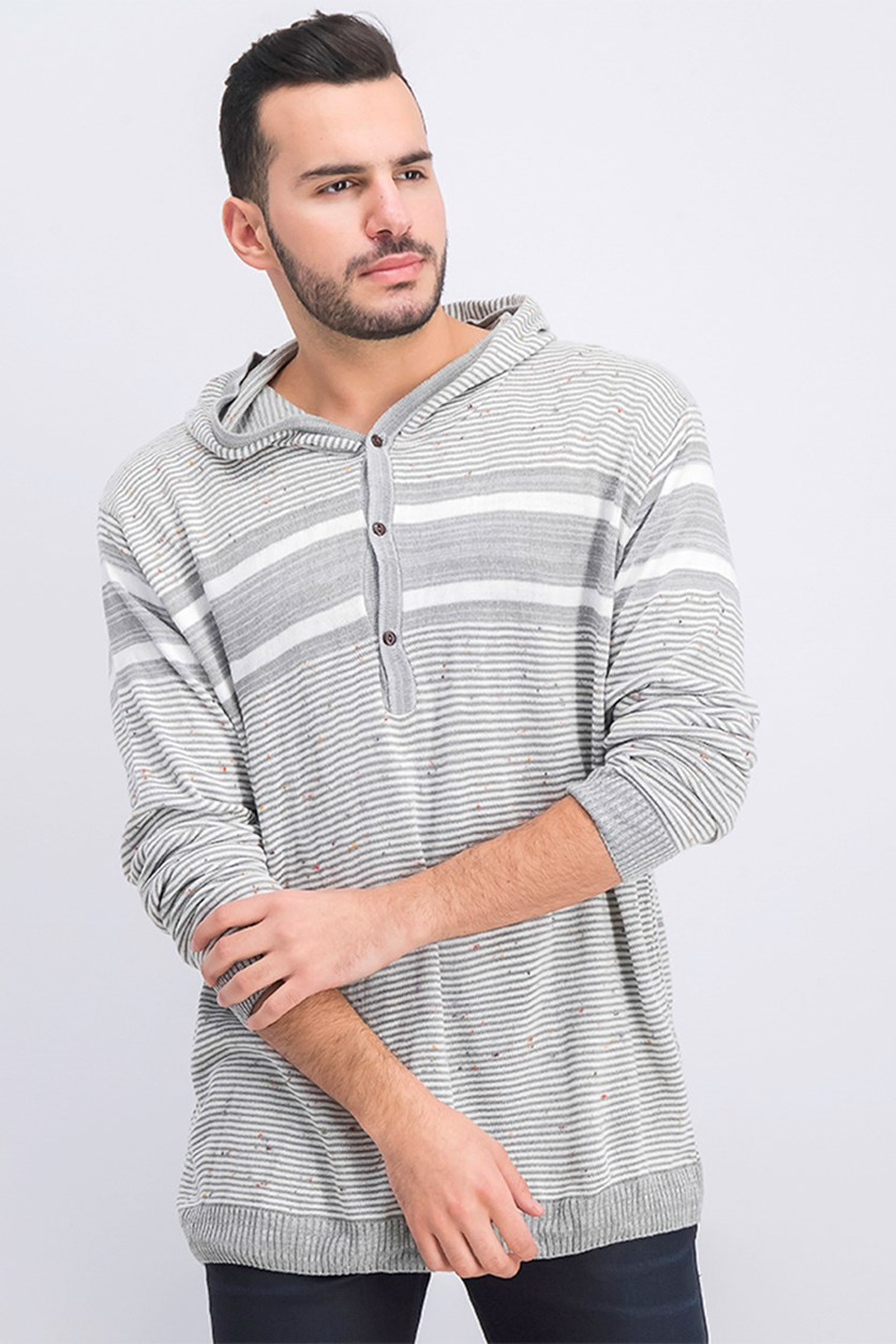Men's Striped Hooded Knit Sweater, Grey