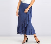 Faded Ruffled Wrap Skirt, Indigo