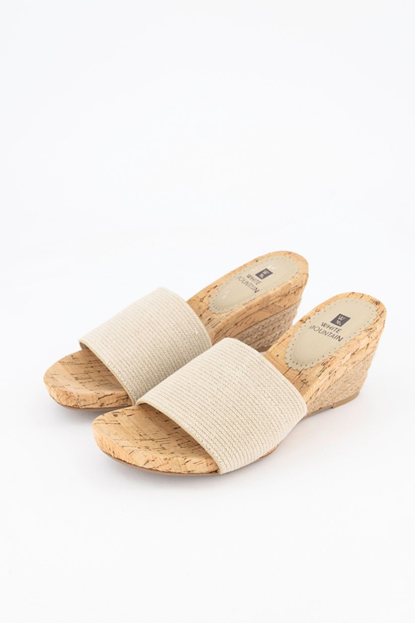 Aleah Slide Wedge Sandals, Natural