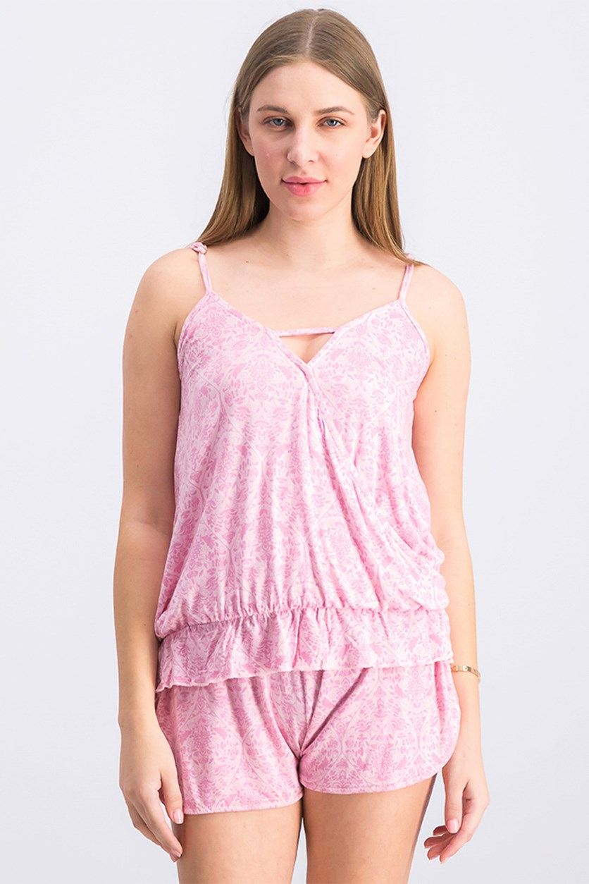Women's Surplice Peplem Pajama 2-Piece Set, Coral Blush Wallpaper Pink
