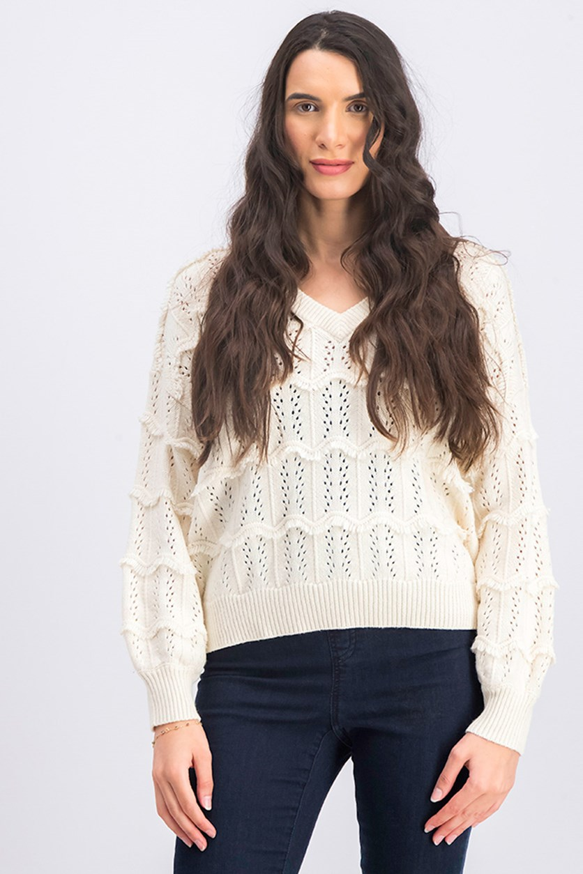 Women's V Neck Pullover Sweater, Cream