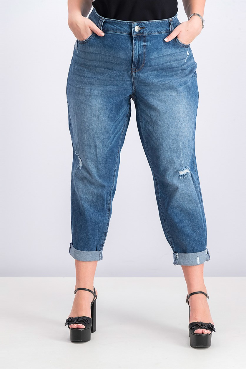 Trendy Plus Size Ripped Jeans, Blue