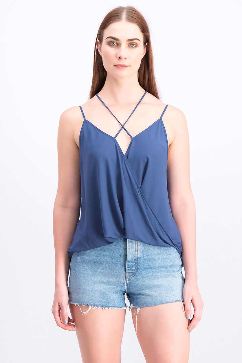 Women's Surplice Spaggetti Top, Light Navy