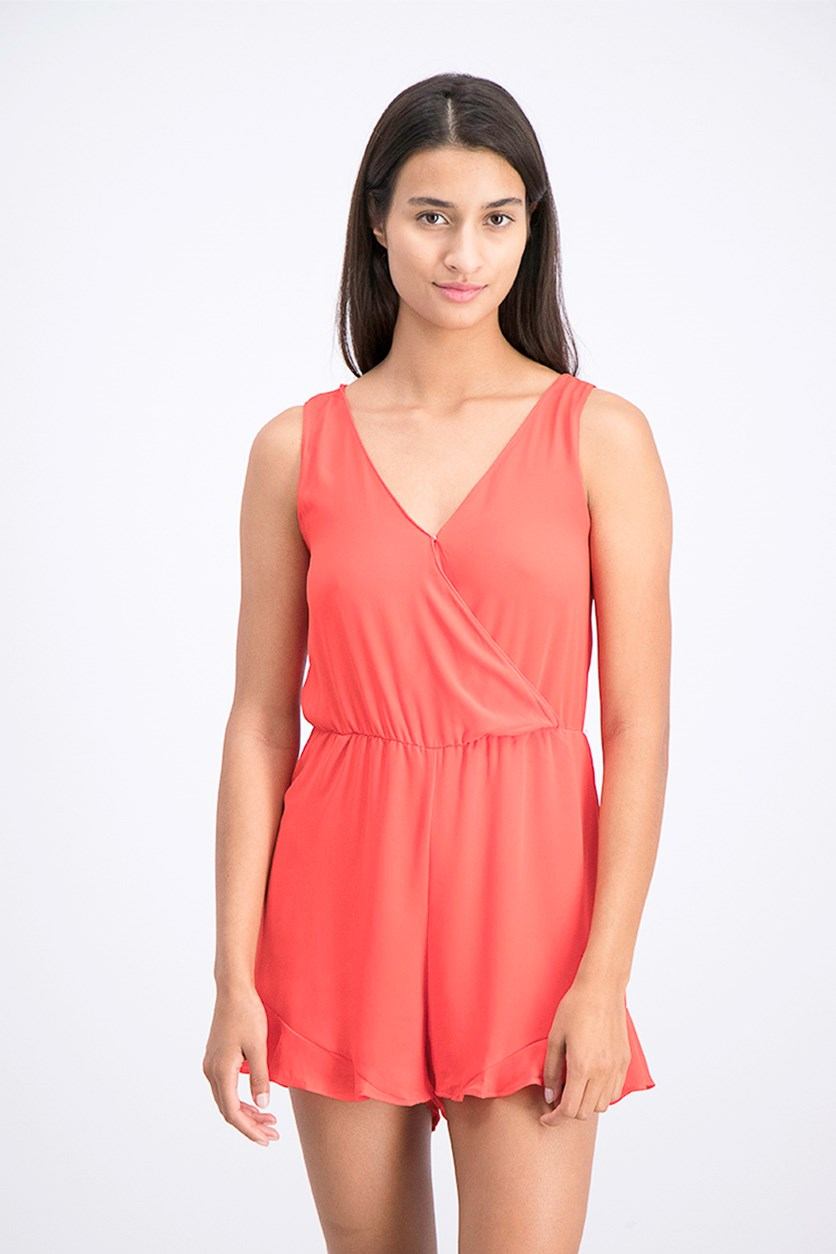 Women's Ruffle Hem Sleeveless Romper, Red Tomato