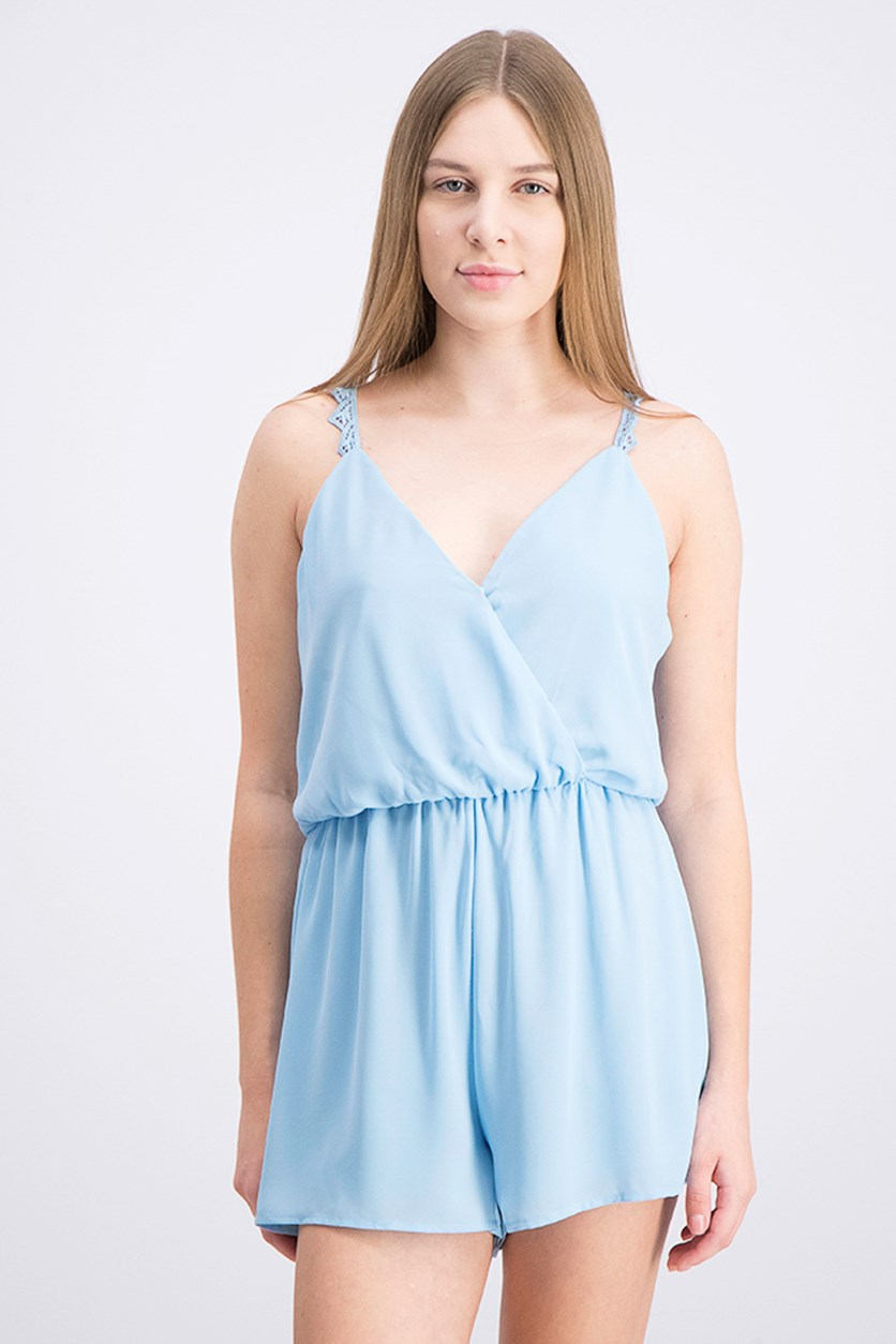Women's Surplice Sleeveless Romper, Light Blue