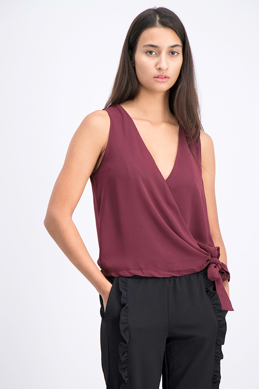 Women's Surplice Tie Front Wrap V-Neck Top, Wine