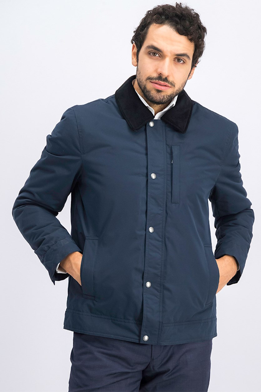 Men's Rain Padded Barn Jacket with Corduroy Collar, Navy