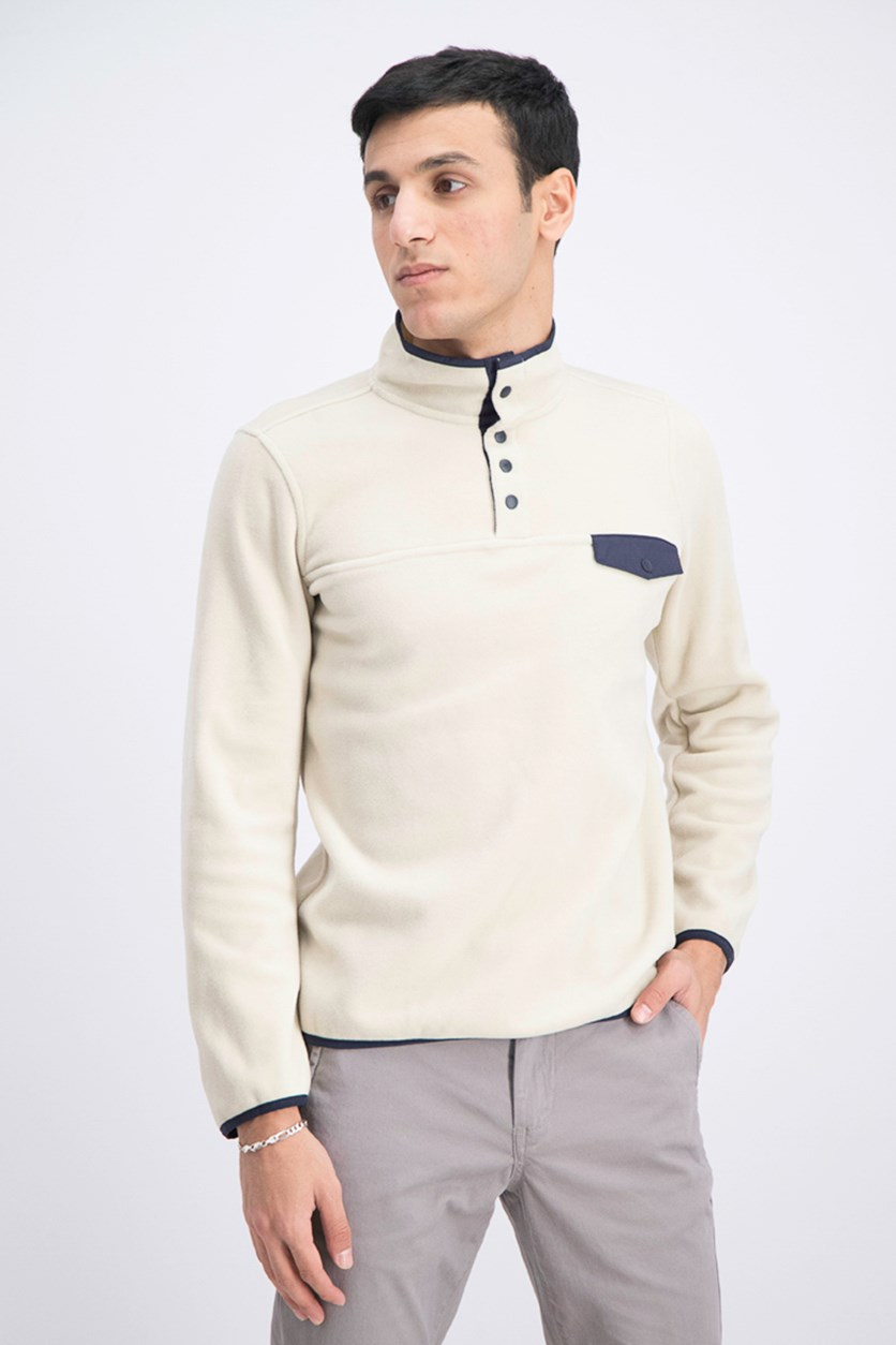 Men's Mock Neck Sweater, Cream