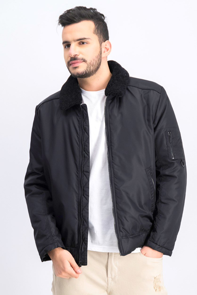 Men's Faux Sherpa-Collar Jacket, Black