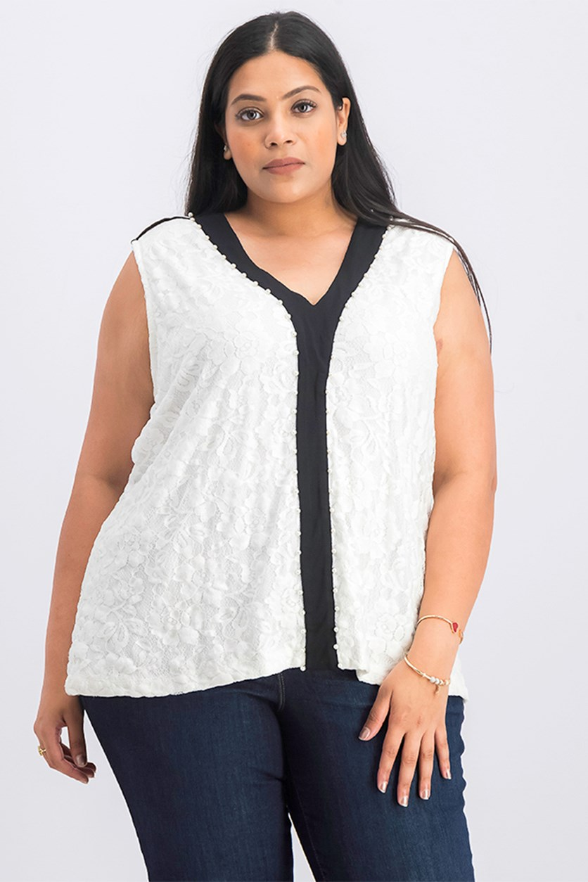 Women's Plus size Sleeveless V-Neck Top, White/Black