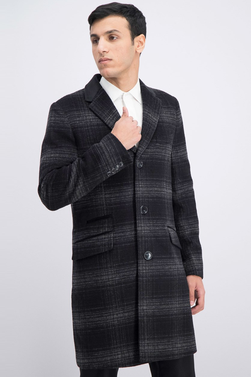 Men's Plaid Coat, Black Combo