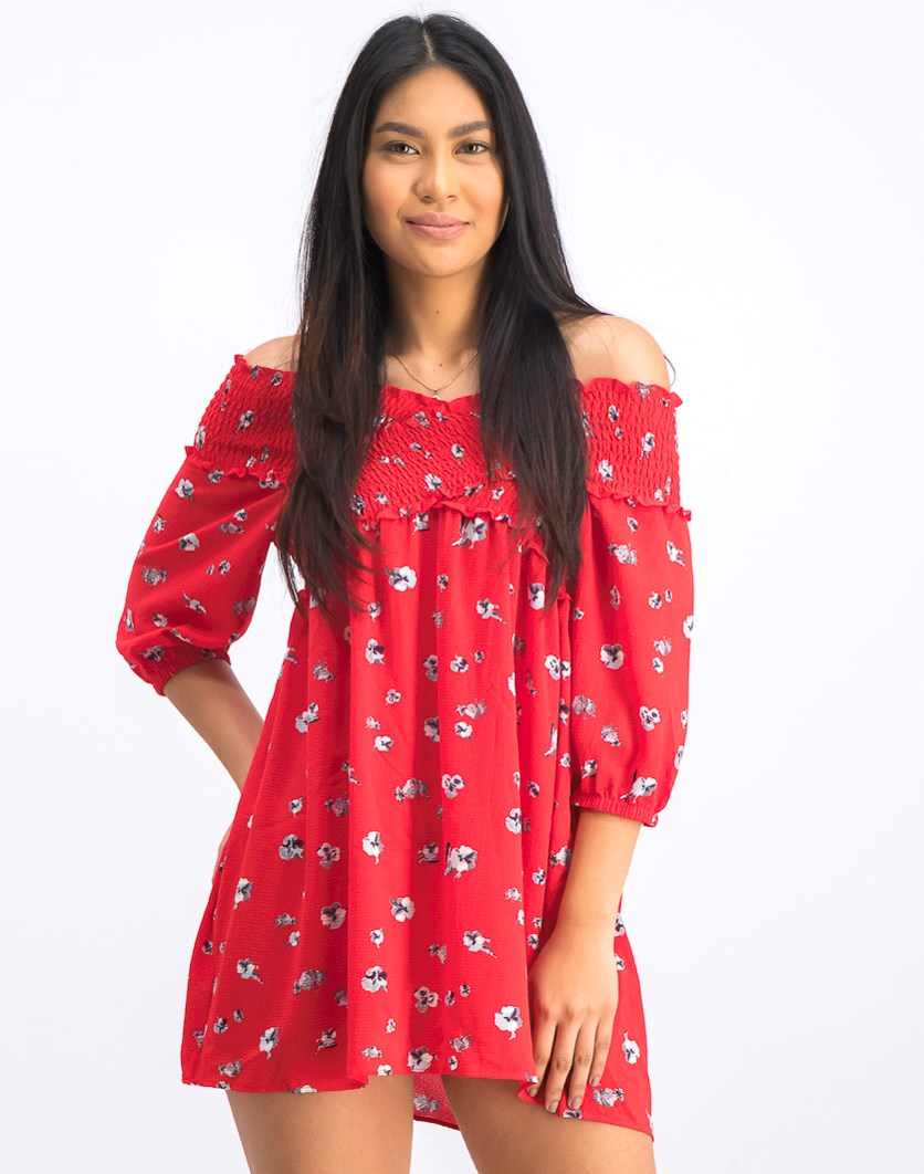 Women's Floral Print Off Shoulder Dress, Red