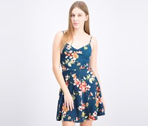 Women's Floral Flare Dress, Teal