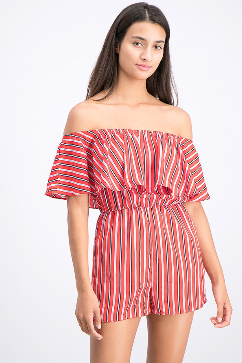 Women's Stripe Off Shoulder Romper, Candy Red