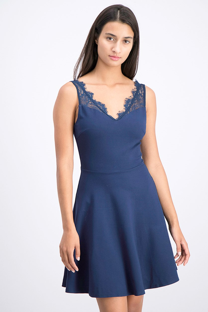 Women's Sleeveless Lace V-Neck Scater Dress, Navy
