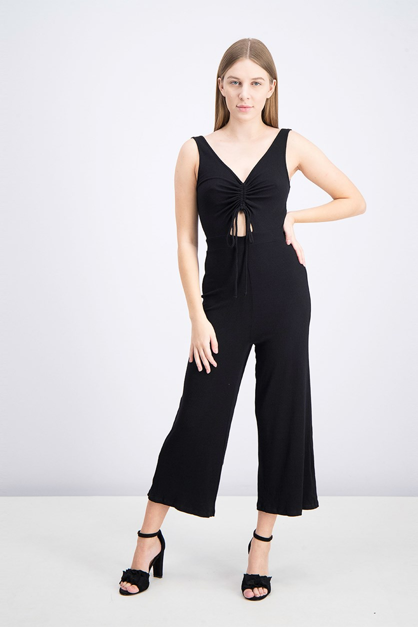 Women's Tie Front Knit Jumpsuit, Black