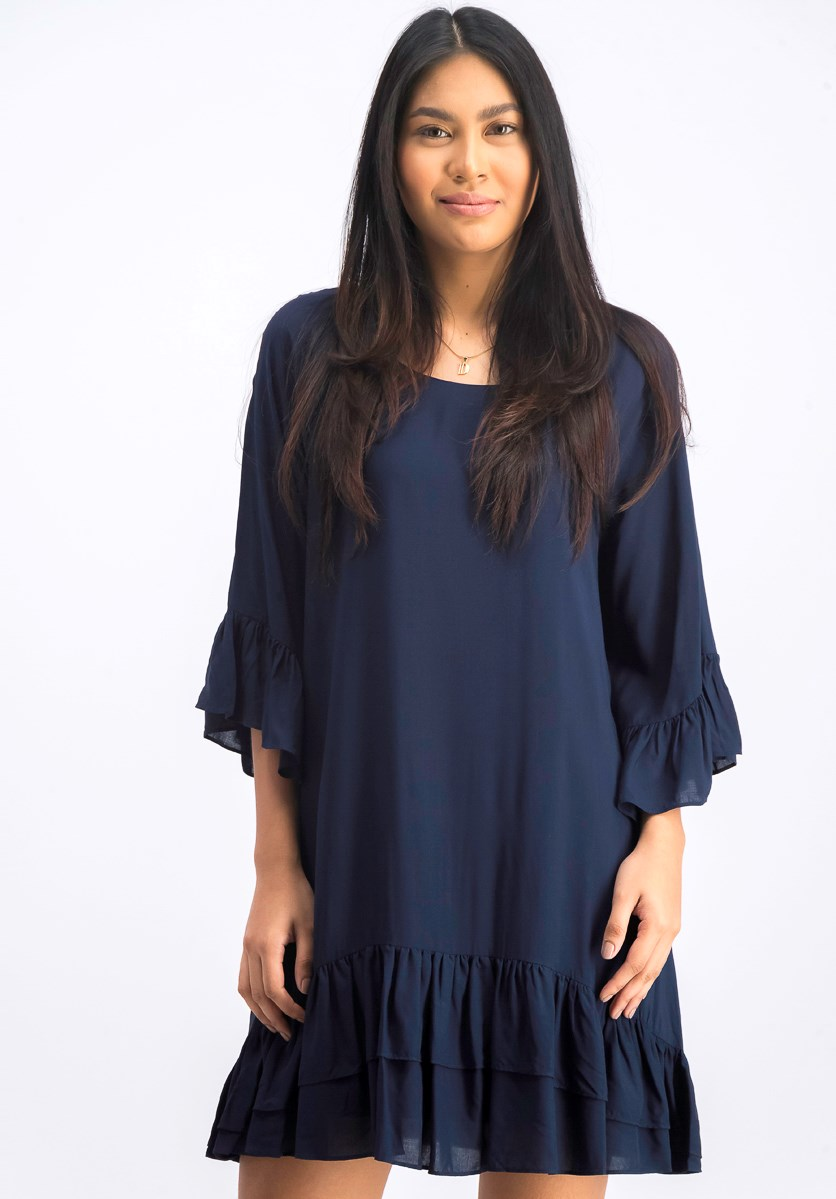 Womens Long Sleeve Boatneck Dress, Navy