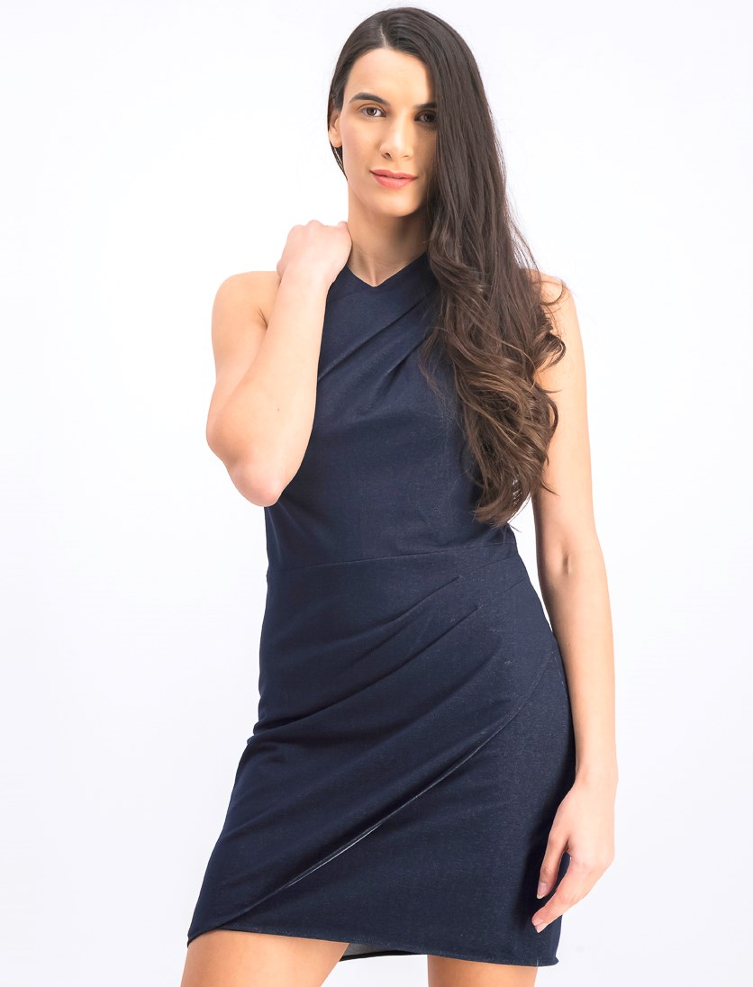 Women's High-Neck Draped Sheath Dress, Navy